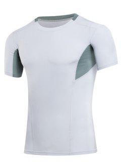 Cuello Que Adelgaza Elástico De Compresión Del Bloque Del Color Redondo Gimnasia Camiseta De Los Hombres  's - Blanco L