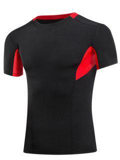 Cuello Que Adelgaza La Compresión Del Bloque Del Color Redondo Gimnasia Camiseta De Los Hombres  's - Rojo Con Negro 2xl