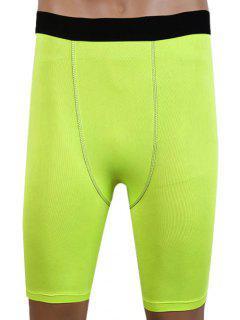 Pantalones Cortos De Compresión Elásticas Redondas Slim Fit Men  's Collar De Gimnasia - Verde De Neón M