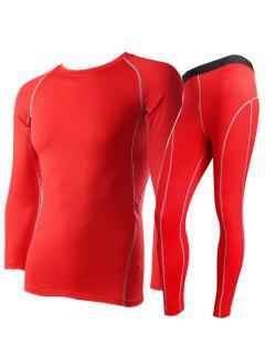 Round Neck Fitted Quick-Dry Short Sleeve Training Sport Suit ( T-Shirt + Pants ) For Men - Red S