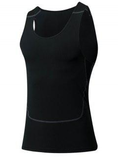 Men's Tight Round Neck Qick-Dry Sports Tank Top - Black M