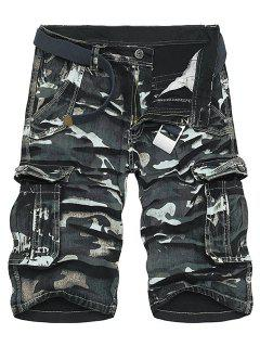 Camo Print Multi-Pocket Loose Fit Straight Leg Zipper Fly Cargo Shorts For Men - Black 30
