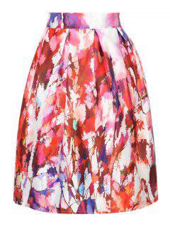 A Line Printed High Waisted Skirt