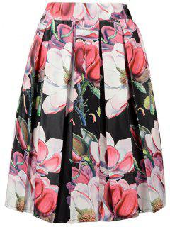 A-Line Flower Print Skirt - Black