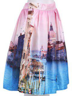 High Waisted Printed A Line Skirt - Light Pink