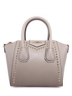 PU Leather Solid Color Rivet Tote Bag - Light Khaki