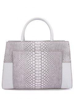 PU Leather Snake Print Tote Bag - Light Gray