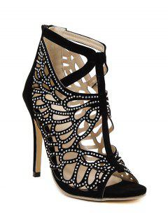 Hollow Out Rhinestone Peep Toe Shoes - Black 36