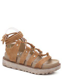 Solid Color Platform Lace-Up Sandals - Light Brown 36