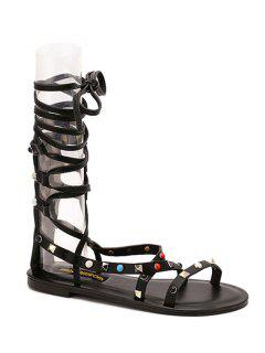 Flat Heel Rivet Lace-Up Sandals - Black 36