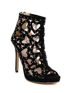 Heart Stiletto Heel Peep Toe Shoes - Black 36