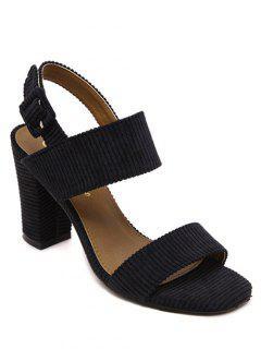 Chunky Heel Buckle Flock Sandals - Black 36