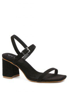 Ankle Strap Chunky Heel Solid Color Sandals - Black 36