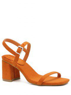 Ankle Strap Chunky Heel Solid Color Sandals - Orange 36
