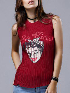 Woman Print Round Neck Chiffon Tank Top - Wine Red