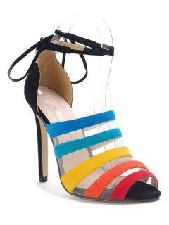 Gauze Color Block Stiletto Heel Sandals - Black 36