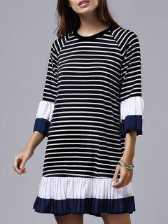 Stripe Pleated Round Neck 3/4 Sleeve Dress - Black