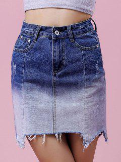Ombre Couleur Jupe Taille Haute En Denim - Bleu S