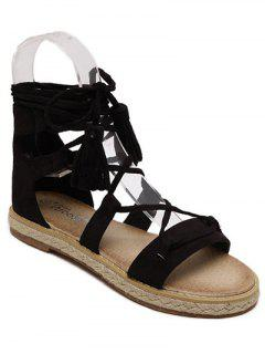 Tassel Lace-Up Weaving Sandals - Black 36