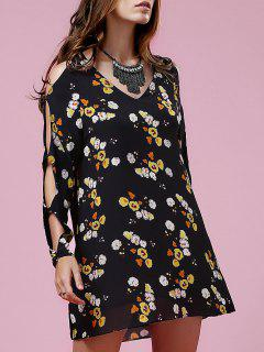 Floral V Neck Long Sleeve Hollow Dress - Black S