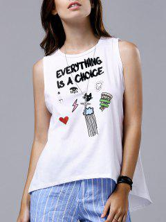 Letter Embroidery Round Neck Slit Tank Top - White