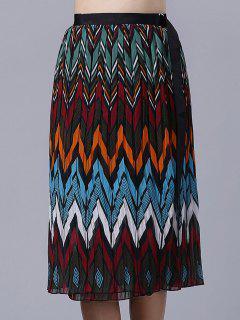 Chevron Stripe Chiffon Skirt