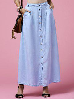 Light Blue High Neck Denim Skirt - Light Blue M