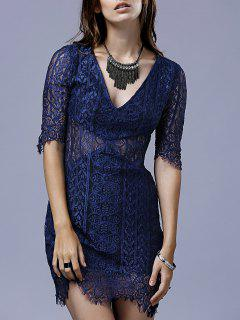 Solid Color Plunging Neck Half Sleeve Lace Dress - Black S