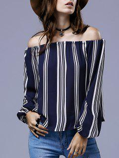 Striped Scoop Neck Long Sleeve Blouse - Deep Blue S
