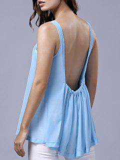 Backless Scoop Neck Manches En Mousseline De Soie T-shirt - Azur S