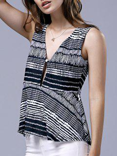 Striped Plunging Neck Sleeveless Blouse - White And Black Xl