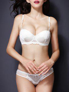 Spaghetti Strap Push Up Lace Bra Set - White 85c