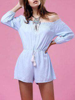 Pure Color Del Hombro Del Lazo Playsuit - Celeste S