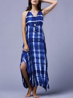 Striped Halter Backless Maxi Dress - Blue S