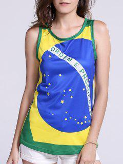 Brazil Flag Print Tank Top - Green L