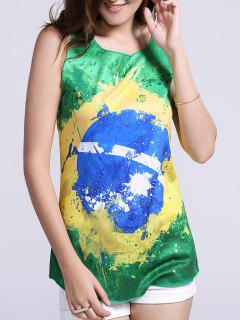 Women's Chic Brazil Hit Color Print Tank Top - Green L