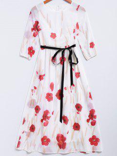 Petal Print Maxi Chiffon Dress - White Xl