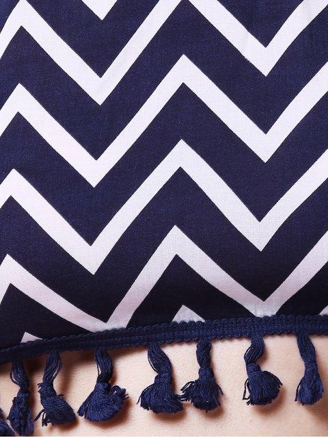 best Zig Zag Halter Crop Top and Shorts Suit - PURPLISH BLUE L Mobile