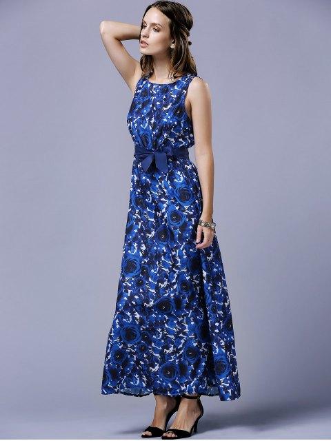 women's Blue Rose V-Back Maxi Dress - BLUE L Mobile