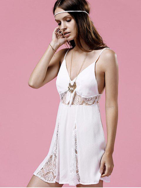 fancy Lace Splice Cami White Mini Dress - WHITE M Mobile