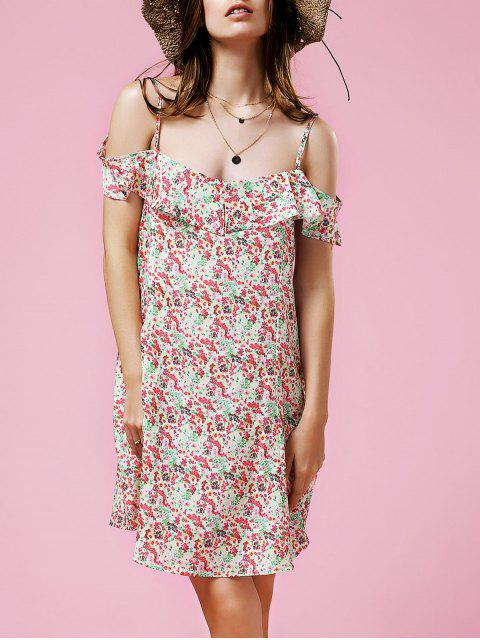 trendy Tiny Floral Frilled Dress - COLORMIX M Mobile