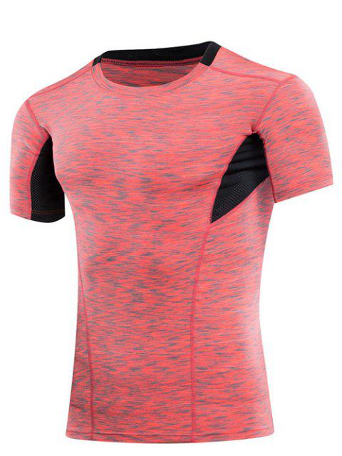 Abnehmen Elastic-Farben-Block-runde Kragen-Turnhallen-T-Shirt für Männer - Rot L Mobile