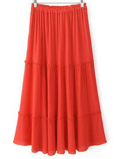 shop Solid Color Elastic Waist High Waist A-Line Skirt - JACINTH L Mobile