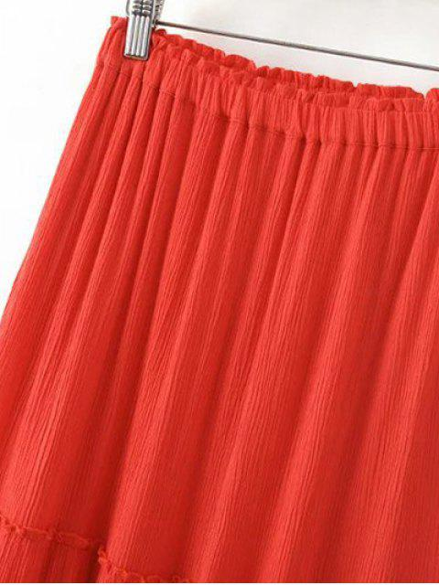 sale Solid Color Elastic Waist High Waist A-Line Skirt - LIGHT BLUE S Mobile