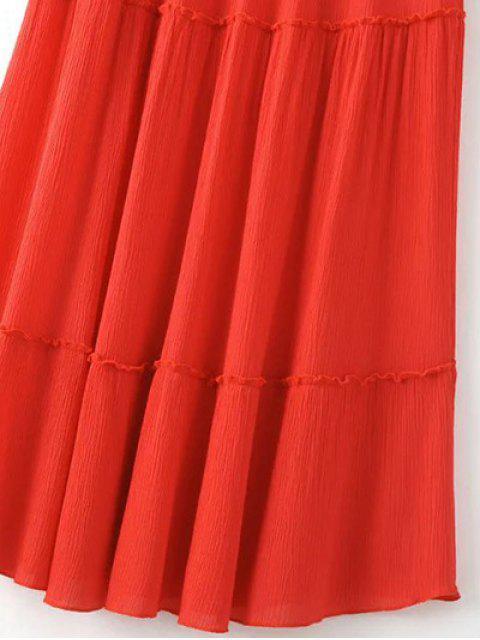 buy Solid Color Elastic Waist High Waist A-Line Skirt - YELLOW M Mobile