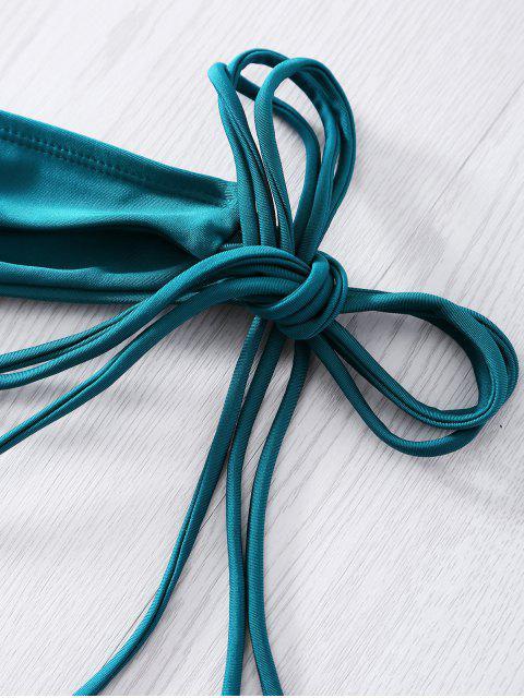 best Spaghetti Strap Tassels Alluring Bikini Set - GREEN M Mobile