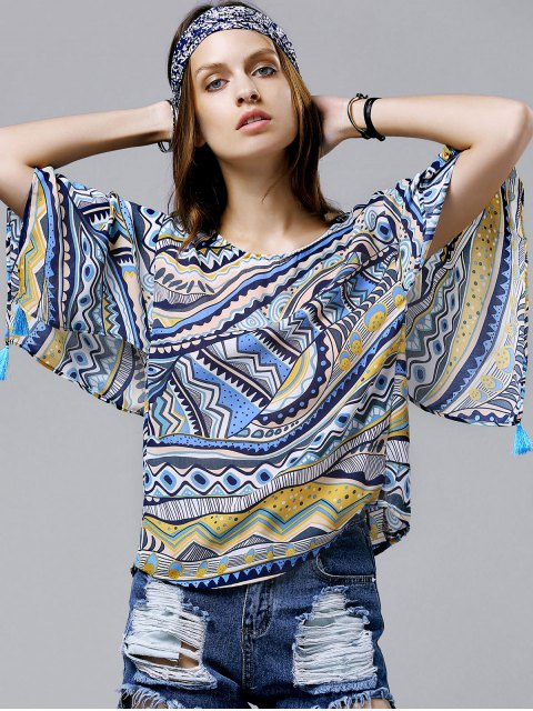 shop Wide Sleeve Printed Chiffon Top - BLUE L Mobile