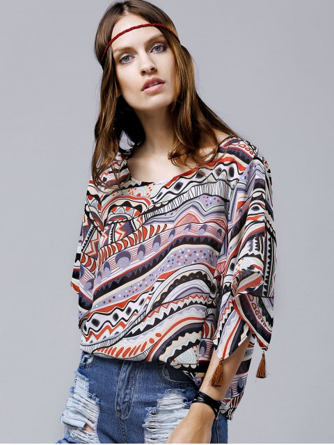 outfits Wide Sleeve Printed Chiffon Top - ORANGE M Mobile