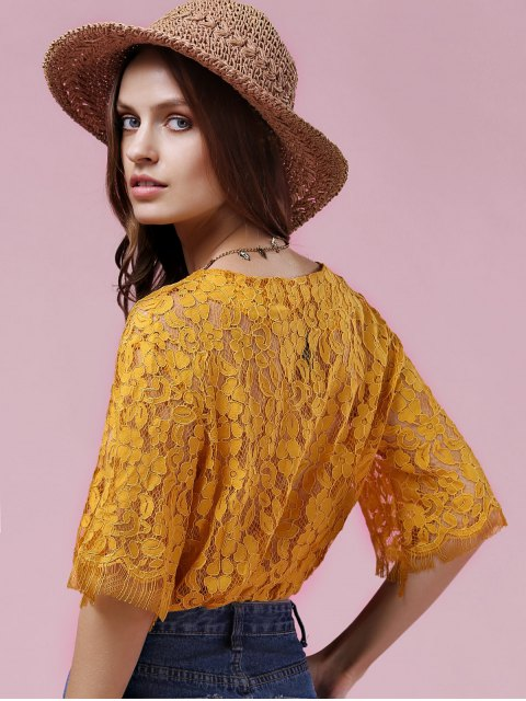 ladies Full Lace V Neck Half Sleeve Blouse - GOLDEN ONE SIZE(FIT SIZE XS TO M) Mobile
