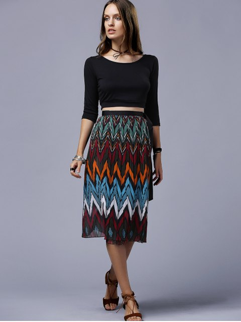 lady Chevron Stripe Chiffon Skirt - COLORMIX ONE SIZE(FIT SIZE XS TO M) Mobile